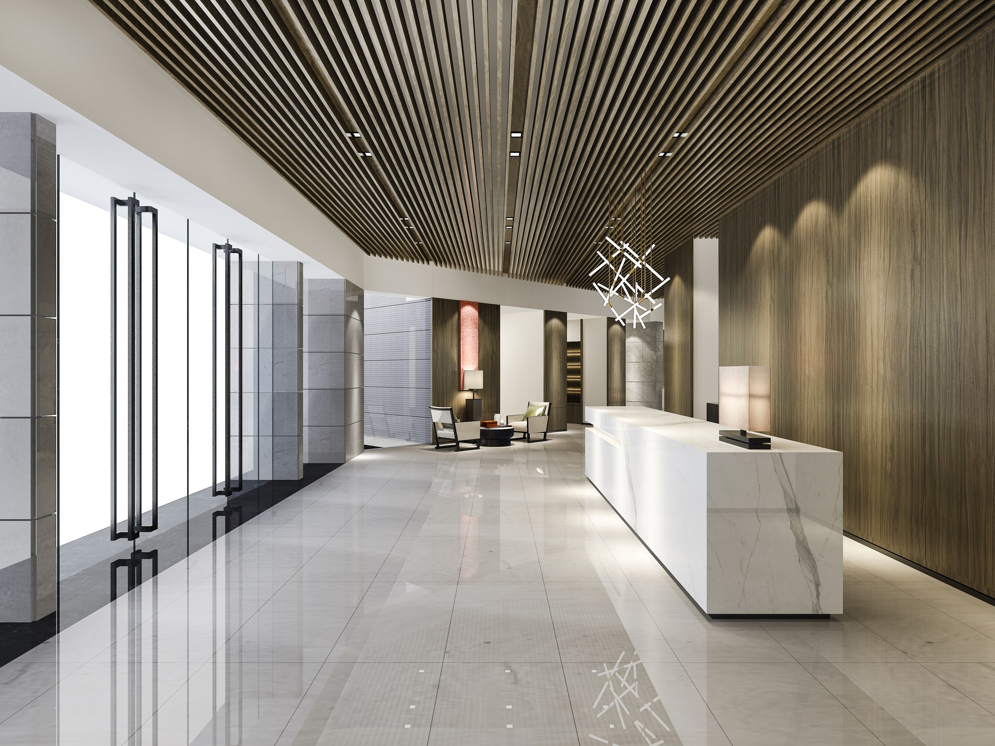 Construcciones reformas Las Palmas luxury hotel reception hall and wood asian style office with modern counter